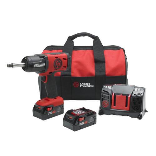 New Chicago Pneumatic Ext Anvil Cordless Impact Wrench With 2 x 4.0Ah Batteries