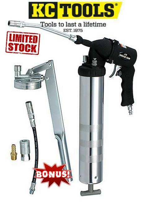 KC Tools Air Operation Grease Gun + Bonus Manual Unit.