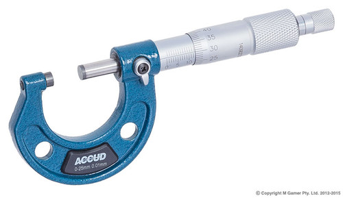 SPECIFICATIONS Range: 0-25mm Graduation: 0.01 mm Accuracy: 4µm External Jaw Reach: 29mm FEATURES Carbide measuring faces Ratchet stop
