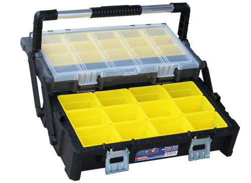 565w x 315d x 123h (mm) Rugged, heavy duty steel latches. Removable top organiser trays and parts bins. Cantilever design for easy access to all contents. Sturdy & comfortable carry handle for easy transportation. Transparent lid allows seeing the contents of the box at a glance. Back legs provide optimum support and keep the organiser stable at all times. Ideal for storing & carrying tools as well as organising small parts & accessories - nuts, bolts, nails, screws, staples and more!