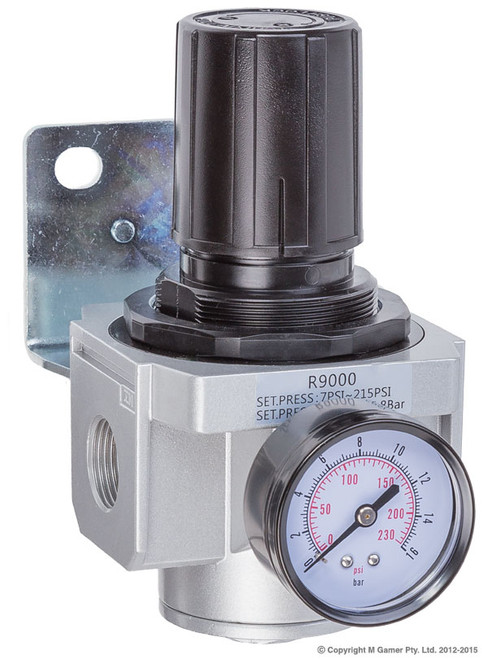 Port Size: 3/4'' NPT Max Input Press.: 250 psi Output Press.: 7-225 psi Measuring Units: PSI, kg/cm2 Max Flow: 162.45 cfm Operating Temp. Range: 5-60 Degrees/C