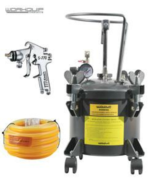 WORKQUIP 10LTR PRESSURE POT MANUAL AGITATION WITH 1MM GUN