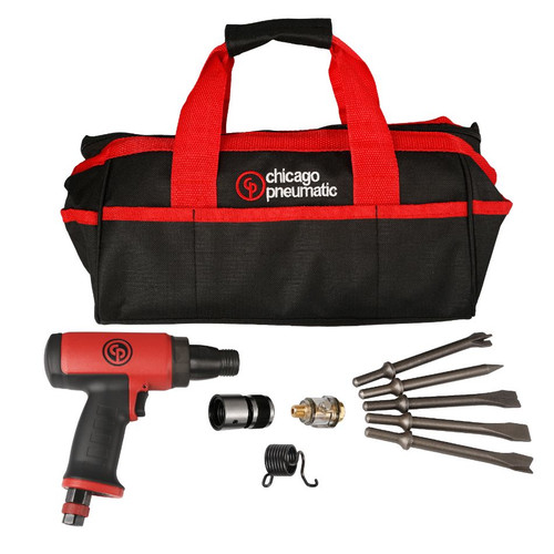 The kit is supplied with: - A bare tool (CP7160 or CP7165)  - A quick change retainer  - A spring retainer  - A mini oiler  - A Chicago Pneumatic soft bag  - 5 chisels (edging chisel, tappered puch chisel, spot weld splitter chisel, flat chisel and single blade panel cutter chisel)