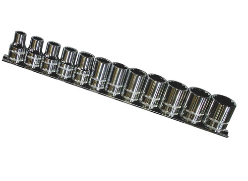Features & Sizes> 12 Point Sockets 10, 11, 12, 13, 14, 15, 16, 17, 19, 21, 22 & 24mm  1 x Socket Rail  Tough triple chrome, high polish finishes provide for an easy clean-up Twin knurling on sockets allows for improved grip, especially useful in oily/greasy conditions Socket set comes with a rail for better organisation Chrome Vanadium Steel (Cr-V) for high durability Meets & exceeds international ANSI & DIN standard Lifetime warranty