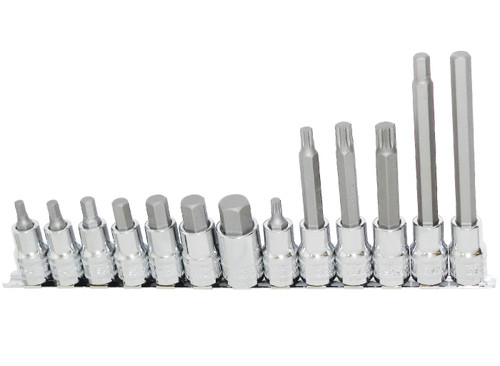 Set includes: Inhex Short (55mm) - 6, 7, 8, 10, 12, 14 & 17mm Spline Short (55mm) - 6mm Inhex Long (140mm) - 8 & 10mm Spline Long (100mm) -8, 10 & 12mm 1 x Socket Rail