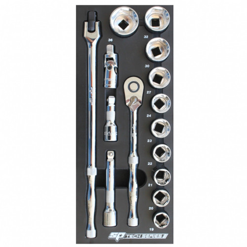 SP Tools Tech Series Metric Only Sockets & Accessories In Foam Tray