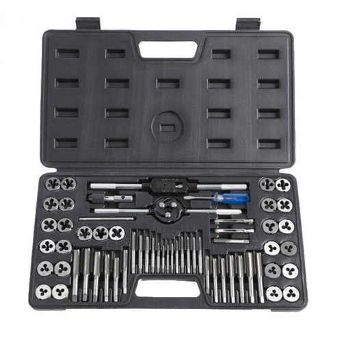 """27 INTERMEDIATE LEAD TAPS AND 27 BUTTON DIES 4Gx40, 6Gx32, 8Gx32,10Gx24, 10Gx32, 12Gx24, 3x0.5, 4x0.7, 5x0.8, 6x1.0, 7x1.0, 8x1.25, 9x1.25,10x1.0, 10x1.5, 12x1.75, 1/4""""x20, 1/4""""x28, 5/16""""x18, 5/16""""x24, 3/8""""x16, 3/8""""x24, 7/16""""x14, 7/16""""x20, 1/2""""x13, 1/2""""x20, Accessores: NPT1/8""""x27 1 X Die Holder 2 X Tap Wrenches 1 X Screwdriver 2 X Screw Pitch Gauges"""