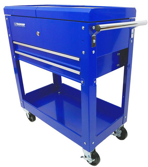 """PLEASE NOTE: If you are in a rural location there will be an additional shipping cost. You can order now as we will contact you with the cost before processing the order. It will only proceed if you agree to any shipping.  Heavy Duty """"Made for the Trade"""" steel construction makes this lockable drawer two shelf workshop tool trolley durable enough for moving tools and car parts. Easily handles loads up to 100kg. Smooth rolling composite rubber castors let you maneuver the workshop trolley without marring the floor. Deep drawers and shelves give you plenty of storage for your tools and parts. This is the perfect heavy duty workshop trolley for garages, warehouses and workshops.  Features: Tough enamel finish Non slip rubber tool tray liners Side handle for comfort and control when moving around. Quality 35mm ball bearing slide drawer, which is locked when top is closed. Heavy gauge steel construction with lockable sliding top on smooth ball bearing runners.   Specifications: Load Capacity: 100kg One lockable drawer on ball bearing slides Two 100mm deep shelves for plenty of storage (one lockable) Two swivel and two fixed 100mm smooth rolling composite rubber castors Overall Dimensions: 770(L) x 370(W) x 830(H)mm"""