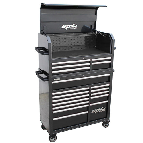 SP Tools 18 Drawer Roller Cabinet Combo Black/Chrome Handles