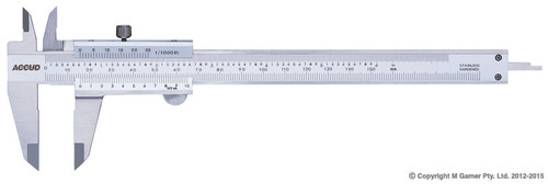 """Range: 0-200mm/0-8"""" Graduations: 0.02 mm/0.001'' Accuracy: ±0.03mm Internal Jaw Reach: 19mm Beam Width: 16mm External Jaw Reach: 50mm Length: 290mm Meet DIN862 Stain chrome plated reading surface Made of stainless steel"""