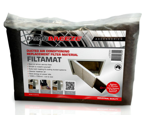 DYNABREEZE FILTAMAT is a specially designed non-woven polyester, ducted Air Conditioning Filter Material. It is designed to replace existing air filter materials in most conventional home air conditioning systems.  Cleaner healthier air 1050 x 700mm - cut to size Save on aircon service fees Simple to install it yourself Save energy on power bills Suits both heating and cooling ducted systems