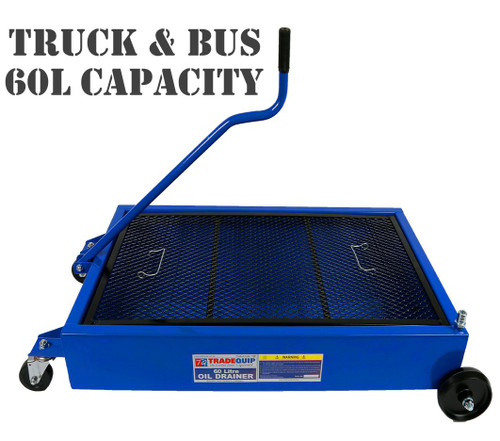 Features:  Enameled steel construction Oil and coolant resistant Removable metal screen Two fixed rear castors Two front swivel castors Drain valve Grab handle  Specifications: Capacity: 60 Litres Minimum Tray Clearance: 196mm Screen Dimensions: 802(L) x 451(W) x 3(D)mm Reservoir Dimensions: 880(L) x 530(W) x 140(H)mm Overall Dimensions: 1174(L) x 641(W) x 673(H)mm (including handle height) Nett Weight: 19kg Carton: 1030 x 550 x 170mm Gross Weight: 21kg