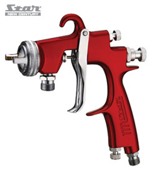 Pressure 1000 Series Spray Gun (Head Only) Fluid Tip - 1.0 mm Atomising Pressure - 29~35 psi Air Consumption - 285~340 l/min Fluid Output - 130~200 ml/min Max Pattern - 270 mm Min Recommended compressor - 10~12 cfm Suitable for (*Guide Only check paint data sheet): Stain, Detailed Touch Up, 2K Top/Clear Coats Fully drop forged body, lightweight body, exceptional balance. Specially designed to produce improved application through pressure fed systems. Full parts backup available. Part Number:  S1000F-103P