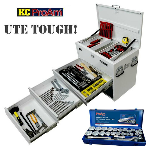 """• 13pc screwdriver set • 6pc punch & chisel set • 200mm combination pliers • 200ml long nose pliers • 175mm diagonal cutting pliers • 250mm multigrips • 300mm hacksaw • 28pc bits set • 1800g club hammer 450mm podger bar • 900g ball pein hammer • 250mm locking pliers • 250 & 375mm adjustable wrench • 10m tape measure • 24pc comb spanner set AF & Metric • 41pc 1/2"""" DR socket set AF & Metric 1/2"""" Drive Socket Set - 41 Piece Contents: 10mm to 32mm, 3/8"""" to  1-1/4"""", Ratchet, Flex Head, 125mm Extension, 250mm Extension, Uni Joint, 13/16"""" Spark, 5/8"""" Spark, Sliding T Bar • 600mm steel pipe wrench • 330mm fencing pliers • 27pc 3/4"""" DR socket set Metric & AF Contents: 22, 24, 27, 30, 32, 36, 38, 41, 46, 50mm, 7/8"""", 15/16"""", 1"""", 1-1/8"""", 1-1/4"""", 1-5/16"""", 1-3/8"""", 1-7/16"""", 1-5/8"""", 1-3/4"""", 1-7/8"""" 2"""", Ratchet, Sliding T Handle, 100mm and 200mm Extensions. Stronger Ratchet, CNC Machined Sockets And Higher Grade Chrome Plate Finish"""