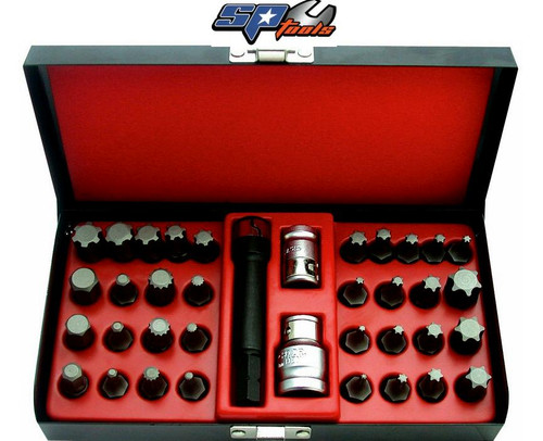 "Red hot price be very quick guys. Limited stock!  SET INCLUDES: 1/4""Dr 30mm(L) Bits 6 x Hexagon - 4, 5, 6, 8, 10 & 12mm 6 x Spline - M4, M5, M6, M8, M10 & M12 12 x Torx - T10, T15, T20, T27, T30, T40, T45, T50, T55, T60 & T70 10 x Ribe Bits - M4, M5, M6, M7, M8, M9, M10, M12, M13 & M14 Adapters & Holders: 1 x 100mm Extension Bit Holder 1 x 3/8"" Dr Bit Adaptor 1 x 1/2"" Dr Bit Adaptor Diverse range of bit types Bit set neatly organised in sturdy metal case Hardened and tempered with a shot blast finish Spring loaded ball bearings hold bits firmly in-place Chrome Vanadium Steel (Cr-V) for maximum strength and durability Lifetime warranty"