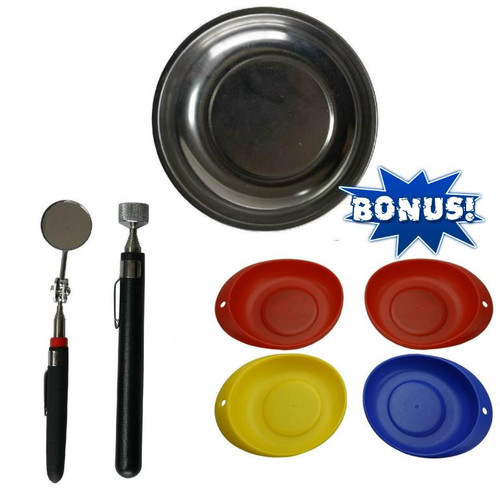 Stainless Magnetic Parts Dish  Mirror & Magnet + Bonus 4pce Set