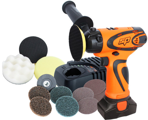 INCLUDES: 16v Mini Sander/Polisher 1x Handle 1x Wrench 1x Sanding Pad 1x Polishing Pad 1x Yellow Sponge Bonnet 1x White Sponge Bonnet 2x Sanding Disc - Course 2x Sanding Disc - Fine 2x Sanding Paper - #120 2x Sanding Paper - #80 16v Battery Pack 16v Charger