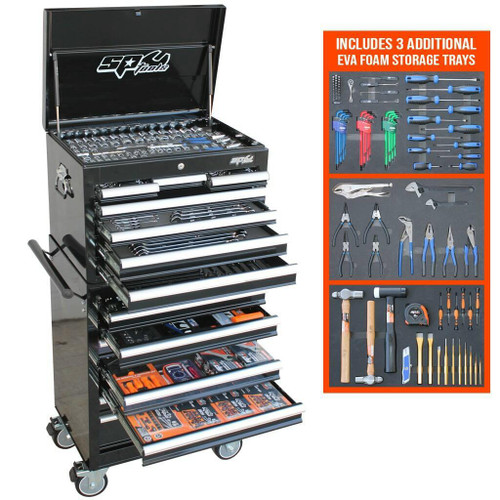 """KIT INCLUDES: 1/4""""Dr Sockets & Accessories 12pt - 4, 5, 6, 7, 8, 9, 10, 11, 12 & 13mm 12pt - 3/16, 7/32, 1/4, 9/32, 5/16, 11/32, 3/8, 7/16 & 1/2"""" Torx - T10, T15, T20 & T25  Inhex - 3, 4, 5 & 6mm  Inhex - 1/8, 5/32, 3/16, 7/32 & 1/4""""  45T Ratchet, Flex Handle & Universal Joint  Extension Bars - 50 & 150mm 3/8""""Dr Sockets and Accessories 12pt - 6, 7, 8, 9, 10, 11, 12, 13, 14, 15, 16, 17, 18, 19, 20, 21 & 22mm 12pt Deep - 10, 11, 12, 13, 14, 15, 16, 17, 18 & 19mm 12pt - 1/4, 5/16, 3/8, 7/16, 1/2, 9/16, 5/8, 11/16, 3/4, 13/16 & 7/8"""" 12pt  Deep - 5/16, 3/8, 7/16, 1/2, 9/16, 5/8, 11/16 & 3/4""""  Torx - T27, T30, T40, T45, T50 & T55  Inhex - 6, 7, 8, 9 & 10mm  Inhex - 3/16, 7/32, 1/4, 5/16 & 3/8""""  E-Torx - E4, E5, E6, E7, E8, E10, E11, E12, E14, E16, E18, E20  Spark Plug Sockets - 5/8 & 13/16""""  45T Ratchet, Flex Handle & Universal Joint  Extension Bars - 75 & 150mm  Adaptors - 3/8Fx1/4M (2) & 3/8Fx1/2M 1/2""""Dr Sockets & Accessories 12pt - 10, 11, 12, 13, 14, 15, 16, 17, 18, 19, 20, 21, 22, 23, 24, 26, 27, 30 & 32mm 12pt - 3/8, 7/16, 1/2, 9/16, 5/8, 11/16, 3/4, 13/16, 7/8, 15/16, 1, 1-1/16, 1-1/8, 1-3/16 & 1-1/4"""" Impact - 10, 11, 12, 13, 14,15, 17, 18, 19, 21, 22 & 24mm Impact - 3/8, 7/16, 1/2, 9/16, 5/8, 11/16, 3/4, 13/16, 7/8, 15/16 & 1"""" Impact Inhex - 4, 5, 6, 7, 8, 10, 12, 14 & 17mm  Impact Inhex - 3/16, 7/32, 1/4, 5/16, 3/8, 7/16, 1/2, 9/16 & 5/8""""  Impact Torx - T20, T25, T30, T40, T45, T50, T55, T60 & T70  45T Ratchet, Flex Handle & Universal Joint  Impact Universal Joint (2)  Extension Bars - 75 & 125mm  Impact Extension Bars - 75 & 125mm (2)  Spark Plug Sockets - 5/8 & 13/16""""  Adaptor - 1/2Fx3/8M Spanners Quad Drive Combination Spanners – 6, 7, 8, 9, 10, 11, 12, 13, 14, 15, 16, 17, 18, 19, 20, 21, 22, 23, 24, 25, 26, 27, 30 & 32mm  Quad Drive Combination Spanners – 1/4, 5/16, 3/8, 7/16, 1/2, 9/16, 5/8, 11/16, 3/4, 13/16, 7/8, 15/16, 1, 1-1/16, 1-1/8 & 1-1/4""""   Quad Drive Stubby Combination - 8, 10, 11, 12, 13, 14, 15, 16, 17, 18 & 19mm  Quad Drive Stubby Combination - """