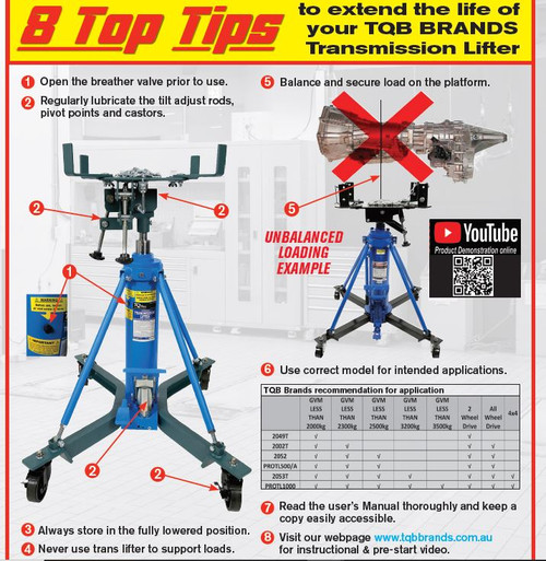 PLEASE READ THIS IMORTANT INFORMATION & SEE ALL PRODUCT VIDEOS LOCATED IN THE PRODUCT DESCRIPTIONS TO ENSURE YOU ARE USING YOUR TRANSMISSION LIFTER CORRECTLY TO AVOID (UN-WARRANTABLE) DAMAGE TO YOUR UNIT!