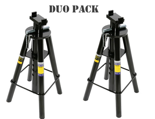 Save money by ordering the DUO PACK if you need more than one unit. Features: Stable 4 legged stability Manufactured from high-grade steel and built to exacting standards for quality and durability Large saddle with double ear support system Lead-free paint finish is applied after a thorough chemical wash to ensure a long-lasting finish and to help prevent rust Paint is oil, grease and dirt-resistant for easy cleanup High strength locking pin Controlled pin holes for easy height adjustments Turned post slide for easy quick adjustments Specifications: Safe Working Capacity: 10,000kg Maximum Height: 1190mm Minimum Height: 720mm Adjustable Pin Heights: 10 Saddle Dimensions: 150x80mm Base Dimensions: 406 x 556mm Nett Weight: 23.5kg Carton: 450 x 450 x 800mm Weight: 26.4kg