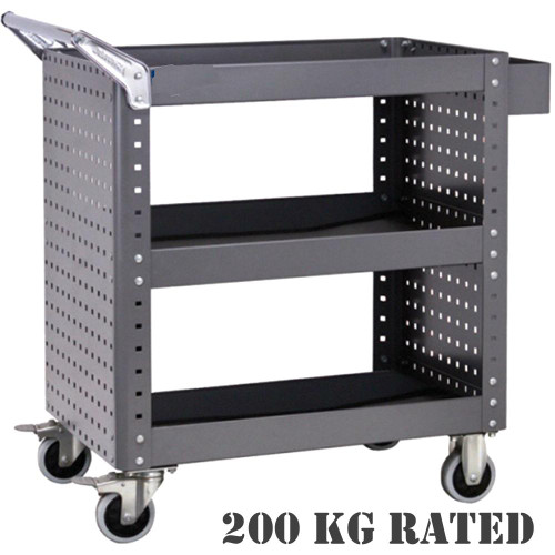 Curved edge design.  200kg total load capacity.  Adjustable height of each layer.  1.2mm metal frame construction.  Cart Dimensions (mm): 873W x 500D x 880H Each shelf & drawer includes a 3mm anti-slide EVA matting.  Peg boards allowing quick access to frequently used tools.  100mm heavy duty castors with 2x swivel lockable, 2x fixed