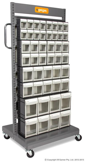 Includes  2 x FO308,  2 x FO306,  2 x FO605 2 x FO604 Pivot Drawers Trolley size: 690W MM x 560D MM x 1460H MM Max capacity: 150 Kg Acid and oil resistant.