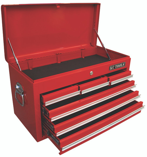 FEATURES: Gas Struts Scratch resistant Sealed Roller Bearing Slides Heavy Duty Gauge sheet steel lid with piano hinge Chrome plated drawer pulls and  side carry handles UV stabilised powder coat finish (for rust and corrosion protection)  6 Drawer Tool Box LENGT660mm DEPTH307mm HEIGHT 377mm GROSS WEIGHT 25kg WEIGHT 22kg KEYS 2