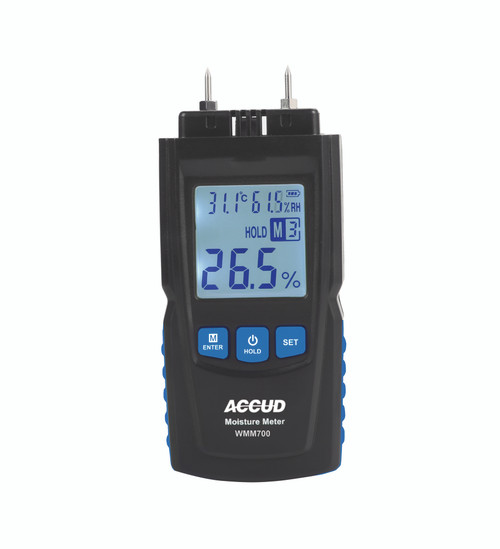 SPECIFICATIONS For quick measuring wood moisture Easy to operate Moisture Measuring Range: 2-40%/50%/60%/70% (for different wood) Moisture Accuracy: ±1%+0.5 Moisture Resolution: 0.5% Temperature Measuring Range: -10°C-60°C Temperature Accuracy: ±1% Temperature Resolution: 0.1°C Humidity Measuring Range: 20%RH-95%RH Humidity Accuracy: ±5%RH Humidity Resolution: 0.1%RH Power supply: 2xAAA battery Weight: 107g Dimension: 136x55x60mm Included Accessories: 1 x Main unit, 1 x Battery
