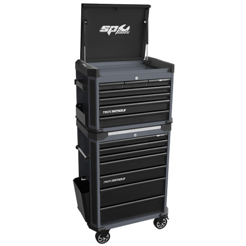 SP Tools Tech Series  Roll Combo Stack 14 Drawer Diamond Black