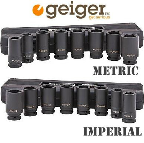 "Save even more dough with the excellent quality Duo Impact Socket Set Pack by Geiger Industrial. These sets are Industrial Quality you can rely on year after year. Made from super high strength Chrome Moly Steel these are built to last and get the job done. You get the metric and the af in this super pack: 1, 1-1/16, 1-1/8, 1-1/4, 1-5/16, 1-3/8, 1-7/16 & 1-1/2"" Deep Impact Sockets Socket sizes - Sizes: 26, 27, 29, 30, 32, 35, 36 and 38 mm Deep Impact Sockets"