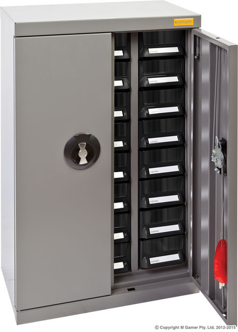 Geiger Parts Cabinet 24 A7 Drawers with lockable doors.