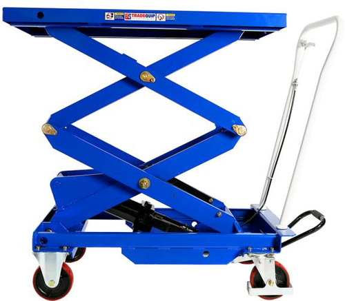 Features: Double Scissor High Lift Foot-operated hydraulic pedal keeps your hands free Quick release hand lever for easy, controlled hydraulic release Heavy duty oil-resistant nonslip rubber mat Two locking heavy duty swivel castors All steel construction Powder coated for extra protection from wear and tear. Perfect for moving heavy parts to and from the vehicle.  Specifications: Safe Working Capacity: 500kg Maximum Height: 1575mm Minimum Height: 440mm Table Size: 1010(L) x 520(W)mm Wheel Diameter: 150mm Dimensions: 1130x520x1260mm Nett Weight: 144kg Carton: 1140 x 575 x 450mm Gross Weight: 157kg