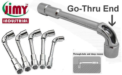 "Features: These unique wrenches have a ""through-hole"" design with deep socket recess that accommodates threaded rod or bar for extra leverage without affecting the wrench strength.  Great for spinning on fasteners (eg, lug bolts and nuts) before using a torque wrench. Get the entire set for around the normal price of on of the larger sizes! Kit includes 8,13,14,17,19mm."