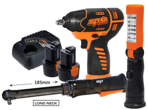 """COMBO BUNDLE INCLUDES: 12v mini 3/8""""Dr Impact Wrench 12v mini Long Neck 3/8""""Dr Ratchet wrench 12v LED Work Light/Torch 2x 12v 2.0Ah Battery Packs 12v Charger  12v MINI 3/8""""Dr IMPACT WRENCH SPECIFICATIONS: Platform: 12 Volt No-Load Speed: 2200rpm Torque: 105Nm Capacity: 3/8'' (10mm) Variable speed trigger with brake Powerful motor delivers 105Nm of torque Ergonomic soft grip handle Built-in LED light illuminates work area Charging Time: 1 hour auto cut-off (±10min)  16v MINI 3/8""""Dr LONG NECK RATCHET WRENCH SPECIFICATIONS: No-Load speed: 250rpm Torque: 54Nm Powerful motor delivers 54Nm of torque Compact design with long 185mm neck provides access to previously difficult to reach areas Reversible Built-in LED light illuminates work area Ergonomic soft grip handle Weight: 1.00kg (With Battery) Charging Time: 1 hour auto cut-off (±10min)  12v WORK LIGHT/FLASHLIGHT SPECIFICATIONS: Platform: 12 Volt Adjustable head - 4 angle settings 90°, 120°, 150° & 180° Two light sources: 4pc LED light panel (40hrs @ 30Lux) & 28pc LED light panel (9Hrs @ 160Lux) Fold away hook LED life: 3000 hours"""