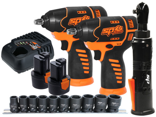 "COMBO BUNDLE INCLUDES: 2x 12v mini 3/8""Dr Impact Wrench 12v mini 3/8""Dr Ratchet wrench 10pc Metric Impact Socket Rail Set 2x 12v 2.0Ah Battery Packs 12v Charger  12v MINI 3/8""Dr IMPACT WRENCH SPECIFICATIONS: Platform: 12 Volt No-Load Speed: 2200rpm Torque: 105Nm Capacity: 3/8'' (10mm) Variable speed trigger with brake Powerful motor delivers 105Nm of torque Ergonomic soft grip handle Built-in LED light illuminates work area Charging Time: 1 hour auto cut-off (±10min) 12v MINI 3/8""Dr RATCHET WRENCH SPECIFICATIONS: Platform: 12 Volt No-Load speed: 250rpm Torque: 54Nm Powerful motor Delivers 54Nm of Torque Compact Design for tight Access areas Reversible Built-in LED light illuminates work area Ergonomic soft grip handle Charging Time: 1 hour auto cut-off (±10min) 10PC 3/8""Dr 6PT IMPACT SOCKET RAIL SET SPECIFICATIONS: Socket Sizes: 10, 11, 12, 13, 14, 15, 16, 17, 18 & 19mm 6 Point High strength Chrome Molybdenum Trade tough - suitable for use with pneumatic and electric impact wrenches Manufactured to DIN standards Lifetime warranty"