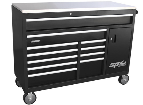 Heavy duty wheels. Stainless steel work top Internal locking system Built-in power board with 4 power outlets & 4 USB ports Cupboard includes an adjustable shelf & deep drawer Heavy duty 28 ball bearing drawer slides SP Cliklok drawer locking system ensures drawers stay closed and secure. Double powder coating resists scratching 1434w x 560d x 1074h (mm) 1 Drawer 1325w x 499d x 123h 1 Drawer 947w x 499d x 123h 2 Drawers 570w x 499d x 75h 1 Drawer 570w x 499d x 100h 1 Drawer 570w x 499d x 205h 2 Drawers 313w x 499d x 75h 1 Drawer 313w x 499d x 100h 1 Drawer 313w x 499d x 205h 1 Cupboard 335w x 439d x 598h - Includes one adjustable shelf