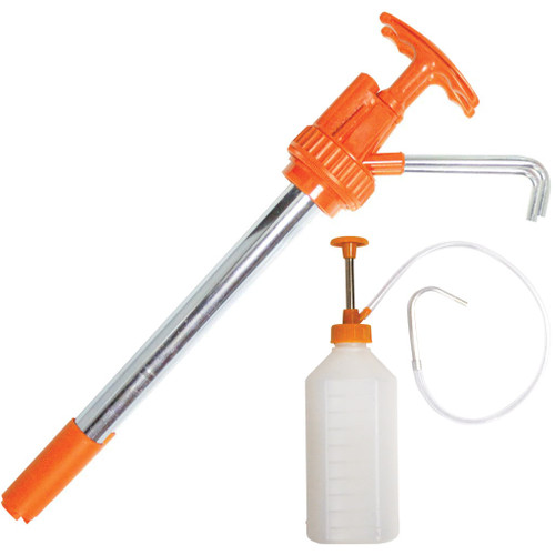 SET INCLUDES DRUM PUMP - 20 LITRE: Pump type: Piston Flow: 60ml / stroke Maximum fluid viscosity: 5000 SSU Ideal for transferring non-corrosive fluids of light to medium viscosity, such as engine oil, gear oil, transmission fluid, automotive additives, machine oil, etc. The pump is a down-stroke style and has a fixed steel spout This pump is self-priming PLUS MULTIPURPOSE PUMP - 1 LITRE: Great for top up jobs - quicker and easier Ideal for topping up difficult to access oiling points on motor vehicles, lawn mowers, chain saws, outboard and two stroke motors, and other odd jobs around the workshop and home Suitable for all oils, automatic transmission fluids, brake fluids and general purpose cleaners, the self-contained unit will prevent oil contamination when not in use
