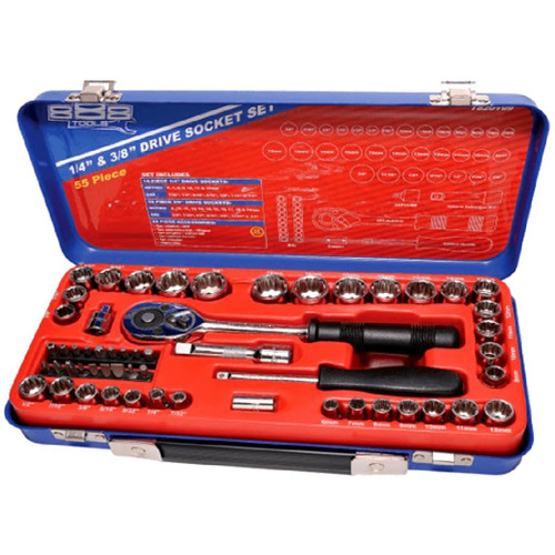 """Ratchet Adapters Coupler Bit set - 18pc Universal joint Spinner handle Extension bar - 125mm Spark Plug Sockets - 5/8 & 13/16"""" SAE Sockets 12pt - 1/4, 5/16, 3/8, 7/16, 1/2, 6/16, 5/8, 3/4, 13/16 & 7/8"""" Metric Sockets 12pt - 8, 9, 10, 11, 12, 13, 14, 15, 16, 17, 18, 19, 20, 21 & 22mm  Quick release system for easy socket changes Cushioned grip handles for operator comfort Specially strengthened ratchet gear teeth to sustain maximum applied torque Flat drive technology offers maximum contact and grip Tough triple chrome, high polish finishes provide for an easy clean-up Chrome Vanadium Steel (Cr-V) for high durability Meets & exceeds international ANSI & DIN standard Lifetime warranty"""
