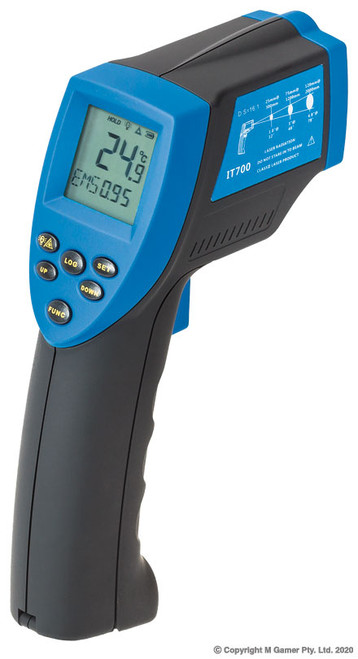SPECIFICATIONS Weight: 196g Resolution: 0.1°C Accuracy: 1.5% or 1.5°C Repeatability: 0.5°C or 1% Distance spot ratio: 12:1 Response time: 500 ms Dimensions: 186×119×50 mm Power supply: 9V battery Emissivity: 0.1-1.00 adjustable Measuring temperature range: -50°C to 700°C
