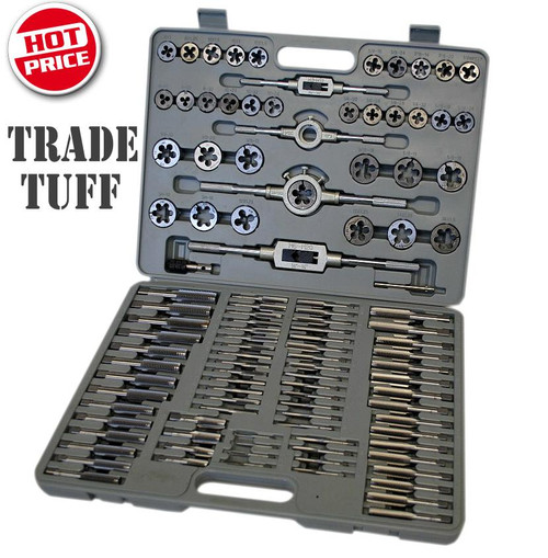 "This kit gives you all the sizes you will ever need at a price no-one will ever be able to come close to! All Tap sizes have starter and finisher tap.  Contents:  Die holder for 1"" o/d dies.  Die holder for 1 1/2"" o/d dies.  ""T"" type wrench 1/4"" capacity.  Adjustable tap wrench, 1/8"" to 1/2"" (3-13mm)capacity. Adjustable tap wrench 1/4"" to 3/4"" capacity.   • 4-40unc, 6-32unc, 8-32unc • 10-24unc, 10-32unf, 12-24unf • 1/4-20unc, 1/4-28unf, 1/4-24uns • 1/4-32uns, 5/16-18unc, 5/16-24unf • 3/8-16unc, 3/8-24unf, 7/16-14unc • 7/16-20unf, 1/2-13unc, 1/2-20unf • 9/16-12unc, 9/16-18unf, 5/8-11unc • 5/8-18unf, 3/4-10unc, 3/4-16unf • M6 x 1.0, M8 x 1.25, M10 x 1.5, M10 x 1.0 • M11 x 1.5, M12 x 1.25, M12 x 1.75 • M14 x 1.25, M18 x 1.5 • 1/8-27npt, 1/4-18npt"