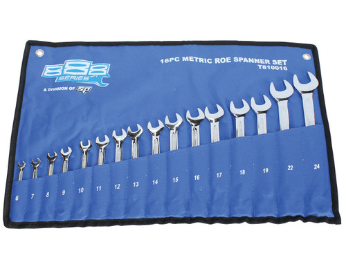 Be quick for this red hot deal on quality spanners! Sizes Set Includes: 6, 7, 8, 9, 10, 11, 12, 13, 14, 15, 16, 17, 18, 19, 20, 21, 22, 23 & 24mm  Features Lifetime warranty Meets & exceeds international ANSI & DIN standard Chrome Vanadium Steel (Cr-V) for high strength & durability