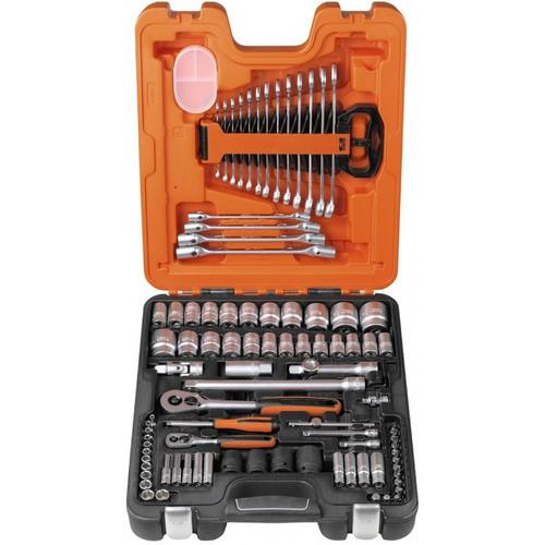 "Features: Chrome Vanadium - Matt Chrome Plated Dimensions (case) 480 x 290 x 100 mm Specifications: Contains 4 pcs 1/2"" 6-pt impact sockets – 17, 19, 21 & 24 mm 4 pcs 1/4"" bit sockets Phillips # 1, 2, 3 & 4 3 pcs 1/4"" bit sockets flat – 4, 5.5 & 7 mm 6 pcs 1/4"" bit sockets hex 3, 4, 5, 6, 8 & 10 mm 2 pcs 1/4"" extension bar 2"" & 4"" 1/4"" spinner handle 1/4"" sliding T-bar 1/4"" ratchet handle 45 teeth 2 pcs 1/2"" extension bar 5"" & 10"" 1/2"" T-adaptor 1/2"" Universal joint 3 pcs L-keys hex 1.5, 2 & 2.5 mm 1/2"" ratchet handle 54 teeth 1/2"" spark plug socket 6-pt – 21 mm 4 pcs flex head spanners: 8-9, 10-11, 12-13 & 14-15 mm 13 pcs combination spanners – 7, 8, 9, 10, 11, 12, 13, 14, 15, 16, 17, 18 & 19 mm 12 pcs 1/4"" 6-pt sockets dynamic drive – 4, 4.5, 5, 5.5, 6, 7, 8, 9, 10, 11, 12 & 13 mm 9 pcs 1/4"" 6-pt deep sockets dynamic drive – 4, 5, 6, 7, 8, 9, 10, 11 & 13 mm 15 pcs 1/2"" 6-pt sockets dynamic drive – 10, 12, 13, 14, 15, 16, 17, 18, 20, 21, 23, 24, 27 & 34 9 pcs 1/2"" 6-pt sockets dynamic drive AF – 3/8, 7/16 (11), 1/2, 9/16, 11/16, 3/4 (19), 13/16, 7/8 (22), 1-3/16"" 1/4"" universal joint"