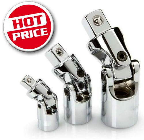 3 Piece universal joint set swivels in all directions to get into hard to reach places Chrome Vanadium. Sizes: 1/4, 3/8 & 1/2 Square drive