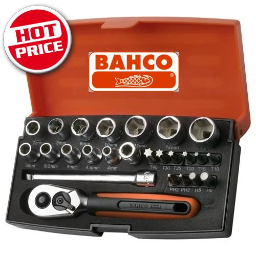 "BAHCO MINI SOCKET SET 1/4"" 25 PCE SBSL25"