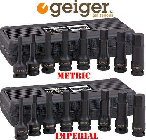 Geiger 1/2″ Metric & AF Hex Bit Impact Duo Pack. Hot Price!