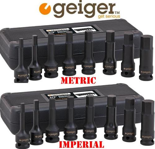 Geiger 1/2″ Metric & AF Hex Bit Impact Duo Pack. Hot Price!