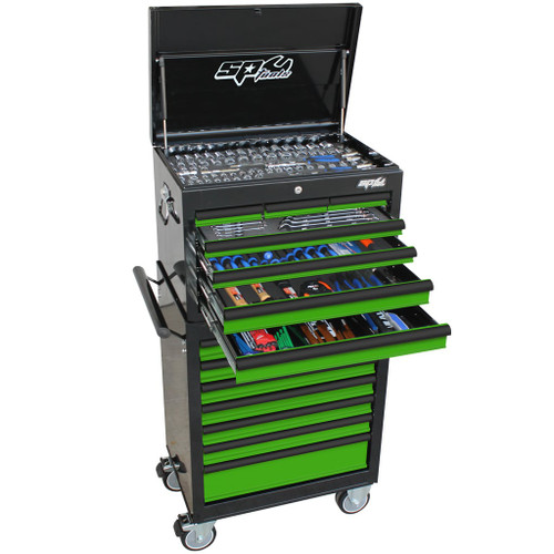 Tool Features: All sockets and socket accessories come in a hi-density foam tool storage system (EVA). Chrome Vanadium steel for high durability. Flat drive technology to maximise grip. High polish finishes to provide easy clean-Up. 15 Drawer Custom Series Tool Box and Roller Cabinet Features: Heavy duty 28 ball bearing drawer slides Dual gas strut lid stays Robust wall construction Full drawer extension capability Double powder coating resists scratching Huge Maxi Depth Drawers - 405mm