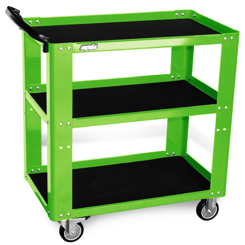 SP Tools 3 Shelf Tool Trolley 150kg Load Capacity Green.