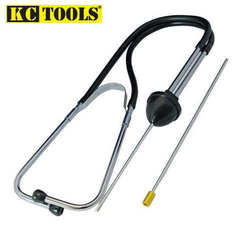 Features: Two-piece probe allows safe access to confined areas.  Handy tool used to pinpoint worn bearings, engine faults and other mechanical noises.  Manufactured from chrome-plated steel with PVC hoses and soft rubber ear pieces.  Insulator on probe allows operator to accurately detect and locate internal engine/bearing noises.