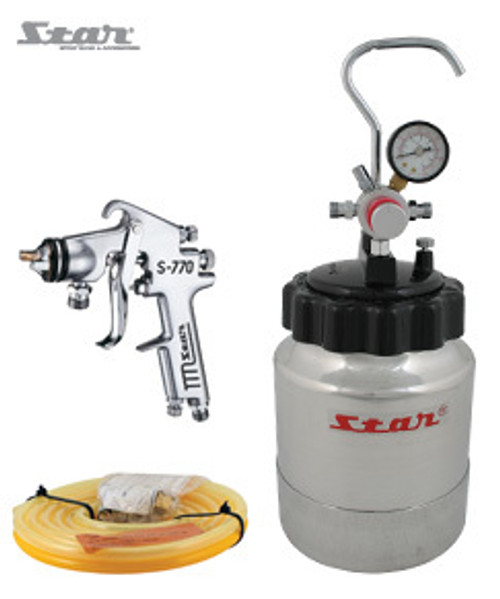 STAR 2L Compact Pressure Pot ideal for small to intermediate job applications. This Pressure Pot Kit comes with: - STAR 2L Pressure Pot (02102); - 2M Twin Hose set; and - S-770-00P Pressure Feed Gun (1.2mm fluid tip). Part Number:  S-770-00P-P